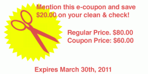 Save $20.00 on your next clean and check
